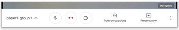 Screen grab of Google Meet toolbar