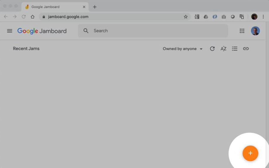 Screen grab of Google Jamboard showing the plus icon to create a new Jam