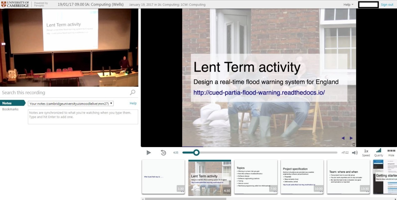 Example screenshot from Panopto; powerpoint and video
