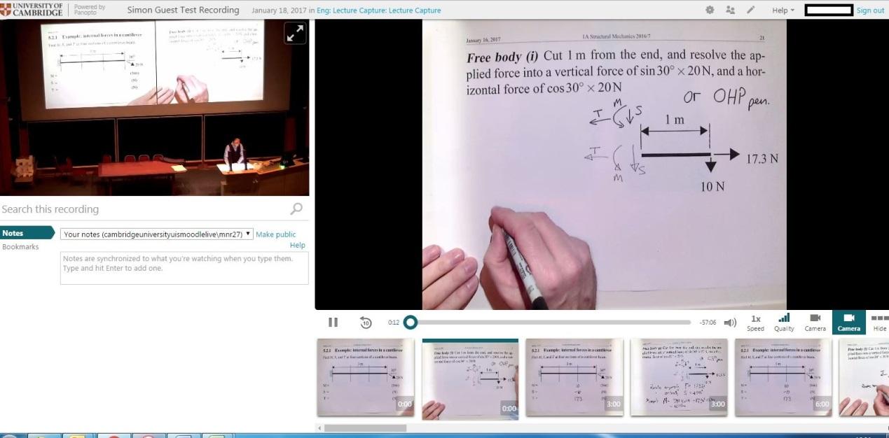 Example screenshot from Panopto; powerpoint and visualiser