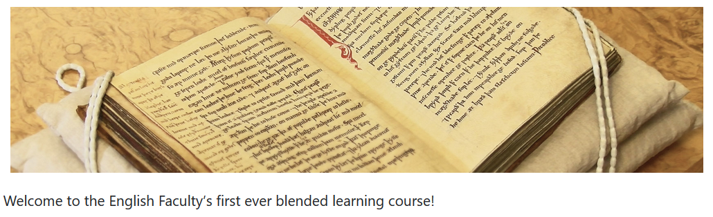 Screenshot of the welcome to the English Faculty's Medieval Manuscripts in the Digital Age course showing an ancient illustrated book