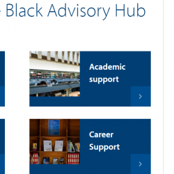 Screenshot of the Black Advisory Hub landing page, showing links through to welfare, academic, financial and career support, as wells as news and quotes from current Black students at Cambridge