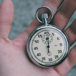 Stopwatch cradled in a hand