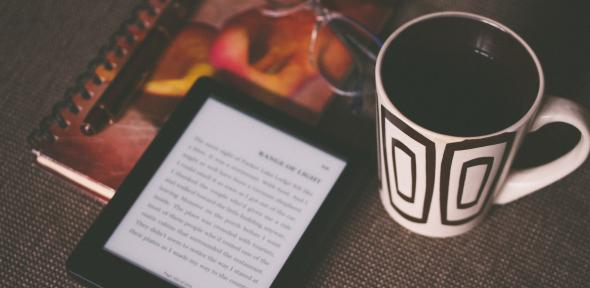 E-reader and mug