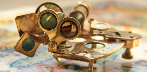 An old navigational instrument, a sextant