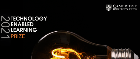 The Technology-Enabled Learning Prize 2021 logo next to a glowing filament bulb